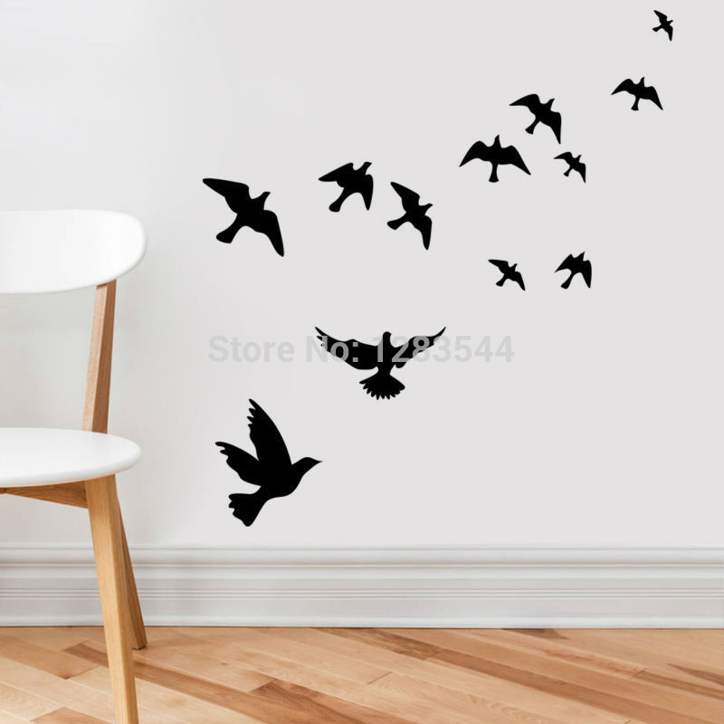 Waterproof Flying Birds Picture Wall Poster Background Wall Sticker(China (Mainland))