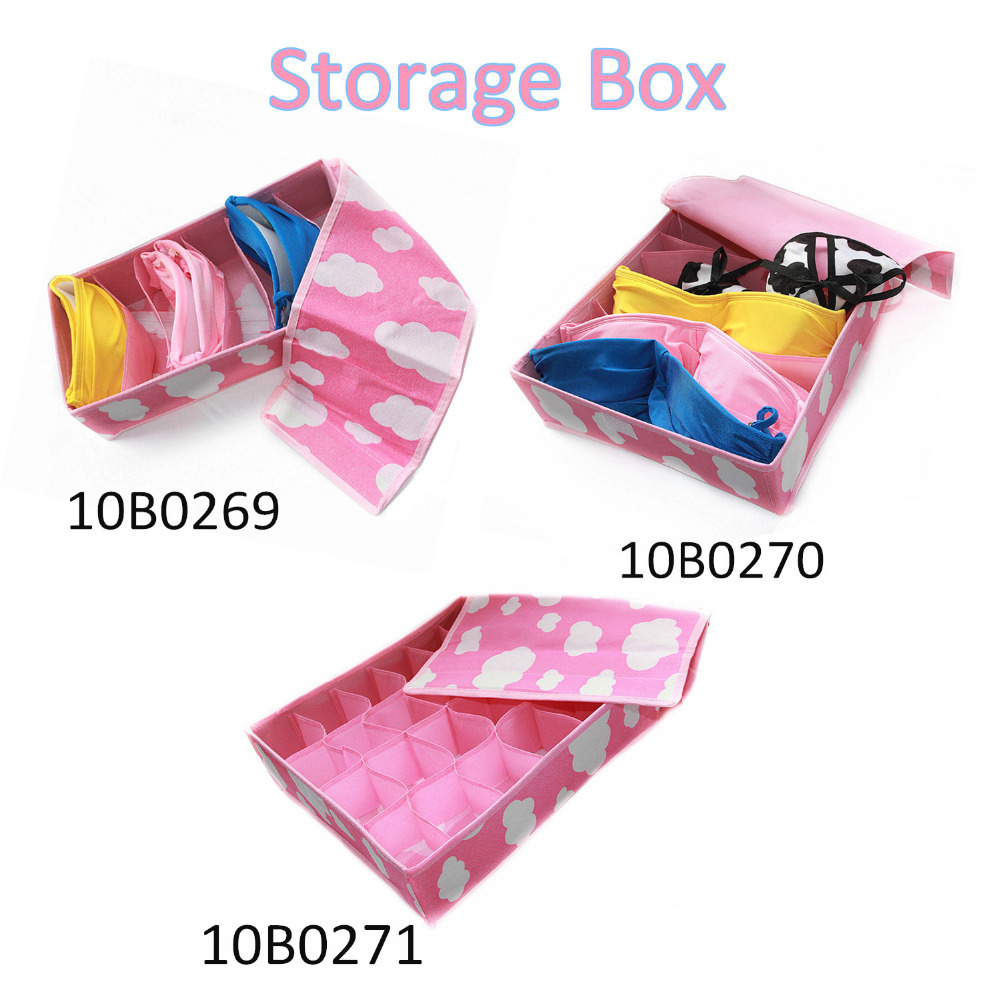 New Pink  Various Grid Pattern Fashion Convenient  With Cover Folding Storage Box Bag for Bra Underwear Sock Necktie  Organizer(China (Mainland))