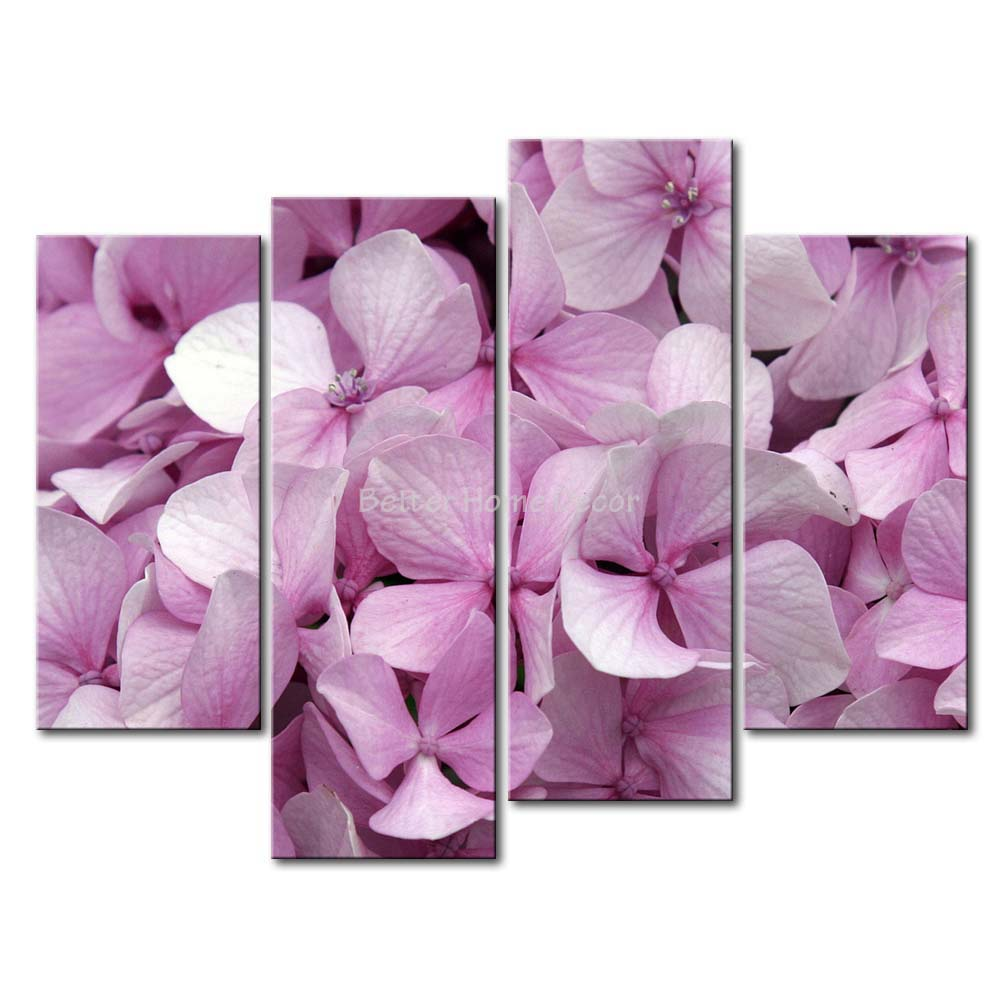 3 piece pink wall art painting mauve hydrangea crowd for Pink wall art