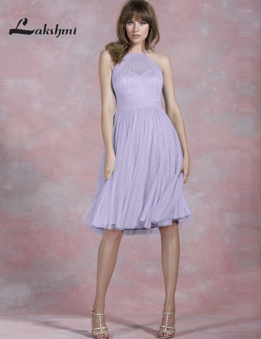 Simple Halter Lavender Bridesmaid Dresses Short A Line