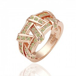 [Color retention gold] high-end jewelry store to purchase the site rose Classic Cross Ring 1196(China (Mainland))