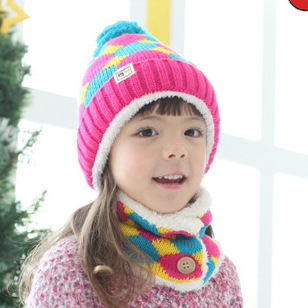 90 percent fall and winter kids hats wool hat scarf suits baby baby hat and scarf set(China (Mainland))