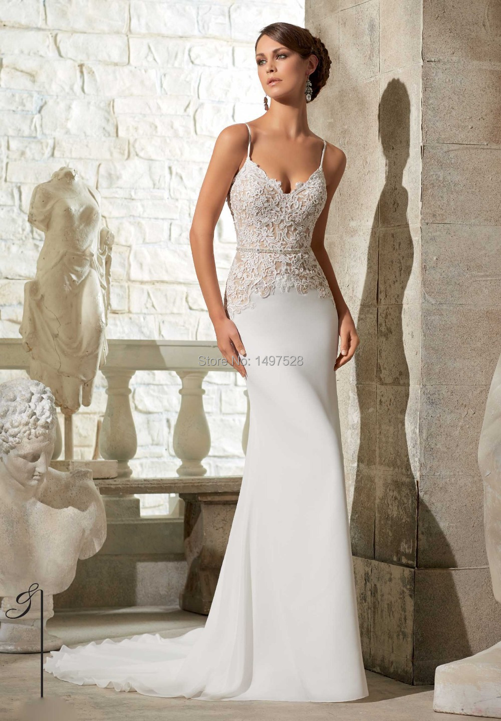 Deep Low Back Wedding Dress : Amazing deep v neck spaghetti straps low back lace
