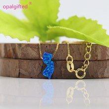 MOQ = 1pc livraison gratuite 5.6*13mm bleu foncé synthétique opale nouveau jersey collier opale NJ carte collier 925 argent or chaîne bijoux(China)