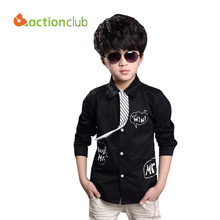 Multicolor 2016 New Arrival boys casual blouse long sleeve boys shirt with necktie children fashion blouse kids clothing KU577(China (Mainland))