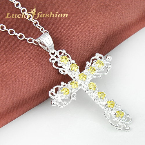 Lucky & Fashion New Brand 2014 Trendy Jewelry Christian Women Pendants Natural Yellow Zircon Silver Dangle Chain+Pendant(China (Mainland))