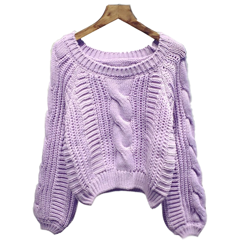 Women New 2016 Arrival Crop Sweater Vintage Twist Knitted Sweater Ladies'Casual Autumn Winter Short Knitwear Pullover B324(China (Mainland))
