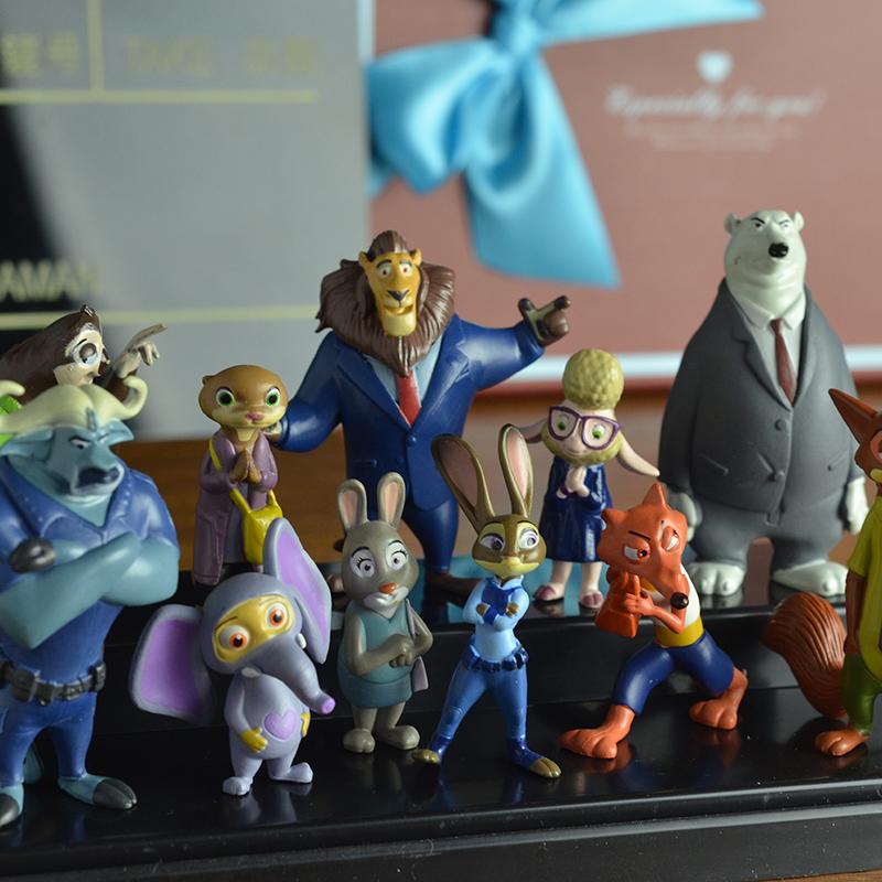 12pcs set Crazy Town Metropolitan Utopia Animal font b Anime b font Toys Action Figure Zootopia