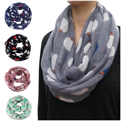 Hedgehog Print Infinity Loop Snood Scarf Animal Scarves Women's Gift Accessories, Free Shipping(China (Mainland))