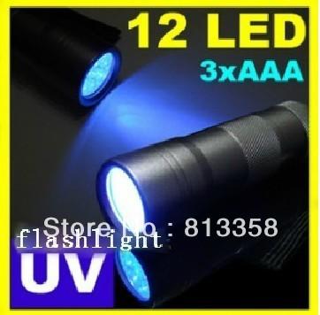 10pcs/lot Hot sale!free dropshipping UV 12LED Black light Flashlight torch light (black)<br><br>Aliexpress
