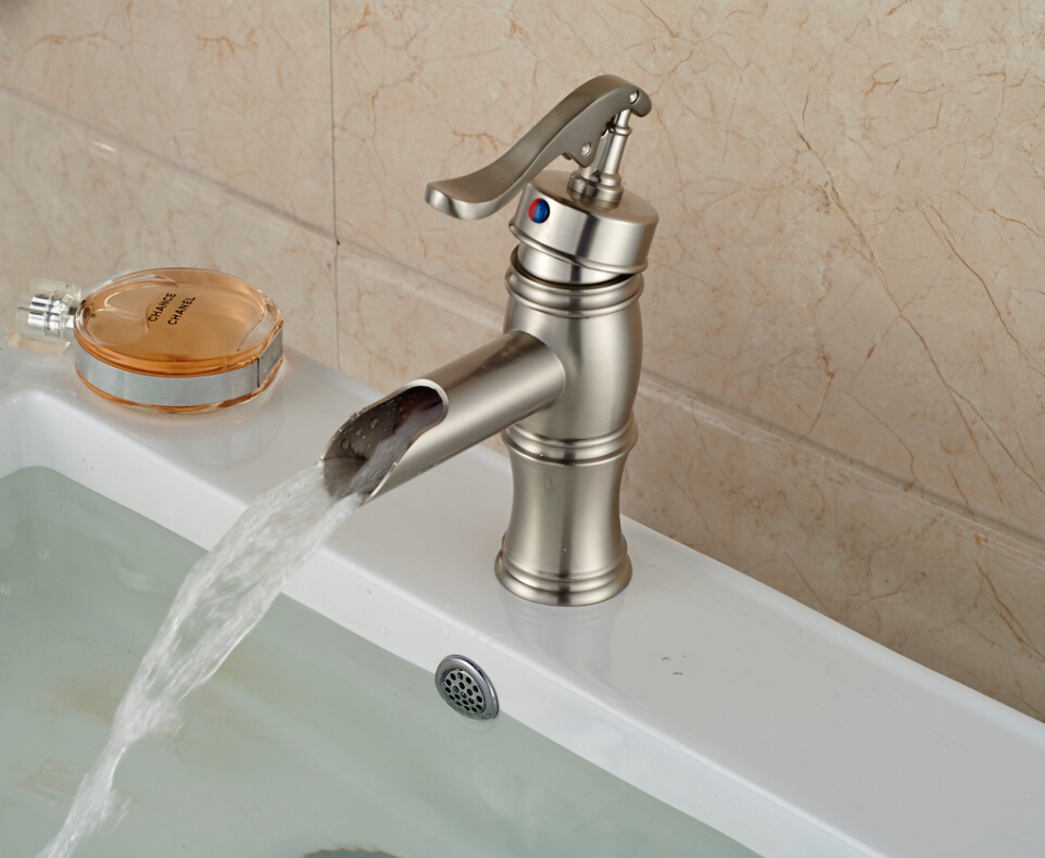 water pump waterfall spout bathroom basin faucet brushed