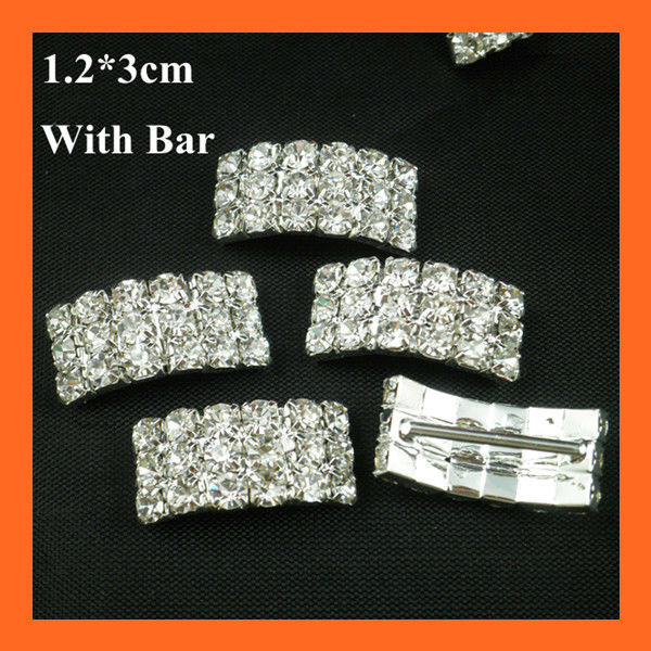 Free Shipping ! 150pcs/lot 17mm Bar Curve Rhinestone Cluster ,Ribbon Buckle Slider,Rhinestone Buckle for Invitation