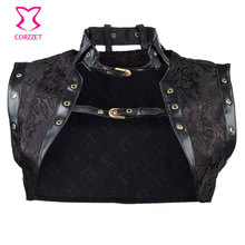 Black Brocade Steampunk Jacket Plus Size Women Sleeveless Jacket with Leather Collar Gothic Corset Sexy Clothing Accessories