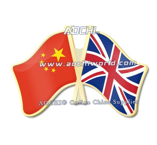 Mix And Match China And United Kingdom Crossed Flags Lapel Pins Customize Metal Lapel Pins(China (Mainland))