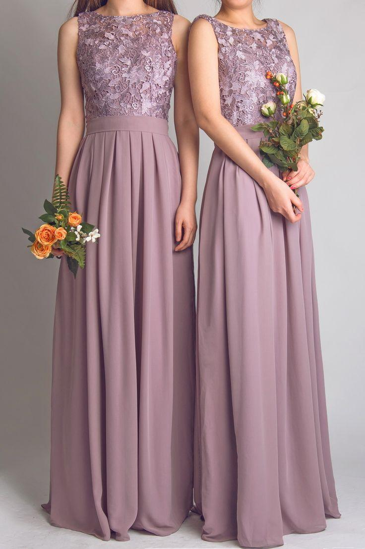Elegant Wedding Party Dresses Of Scoop Lace Simple Long Bridesmaid Dresses 2015 Floor