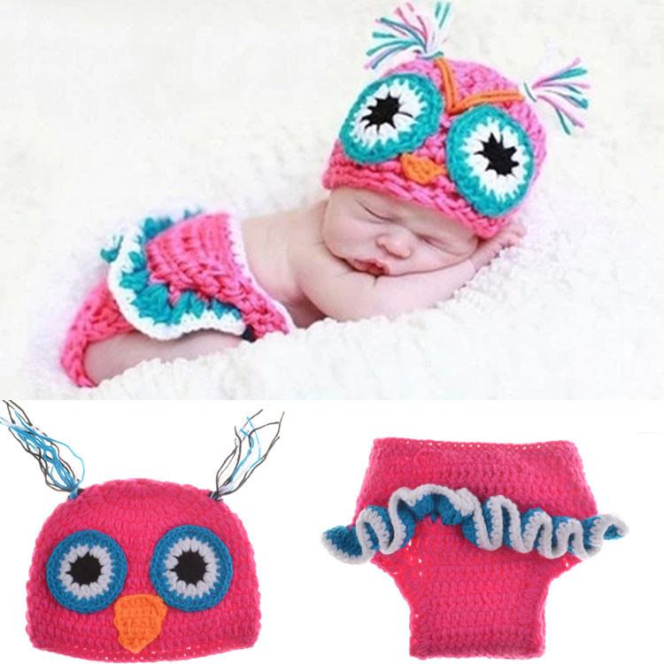 2015 Hot Sale Baby Newborn Beanie Owl Knit Crochet Hat children baby Photo Props crochet clothes MZS-15022(China (Mainland))