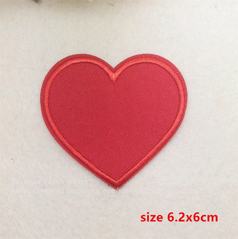 New arrival 10 pcs red heart embroidered Iron On Patches TS garment bag phone Appliques accessory free shipping(China (Mainland))