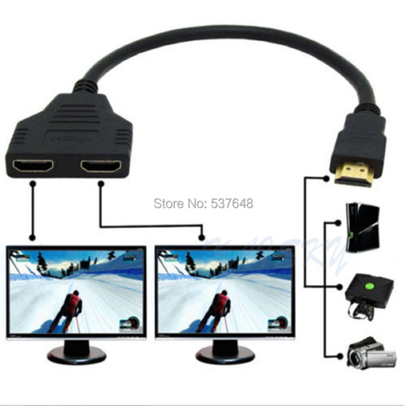 HDMI Male 2 Port Female 1 Splitter Cable Converter Adapter HD HDTV computer projection - Ali-Data store
