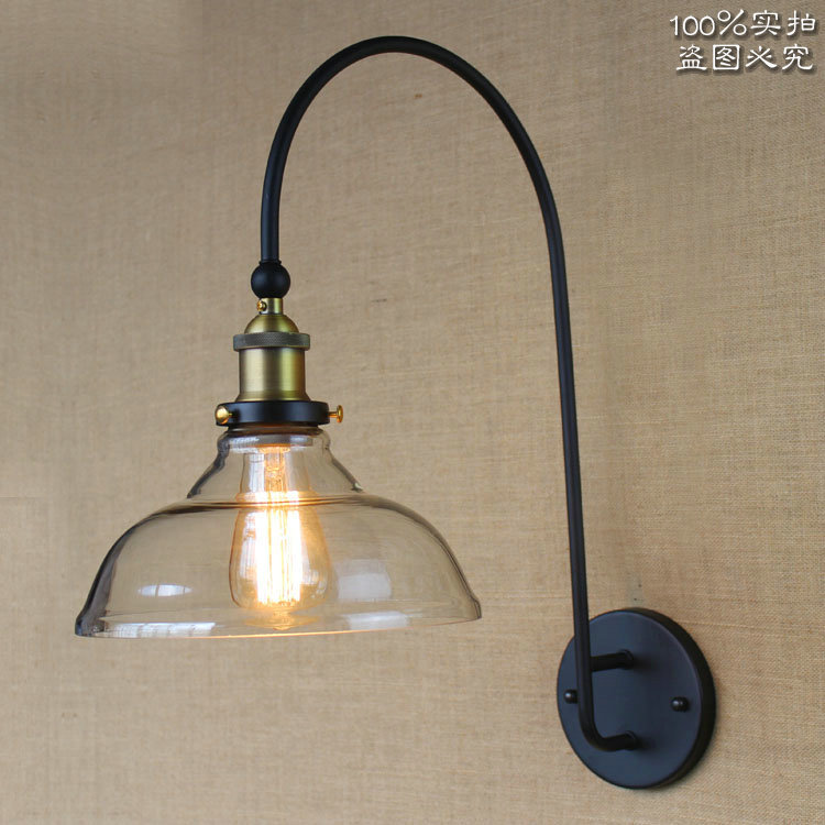 American Nordic Style High-grade Wall Lmap Large Curved Arm Black Iron Light Coffee Shop Light Bedroom Light Free Shipping<br><br>Aliexpress