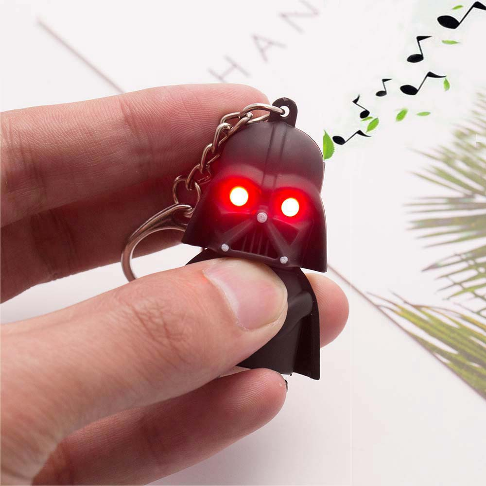 Free Shipping 2016 Star Wars Keyring Light Black Darth Vader Pendant LED KeyChain For Man Gift(China (Mainland))