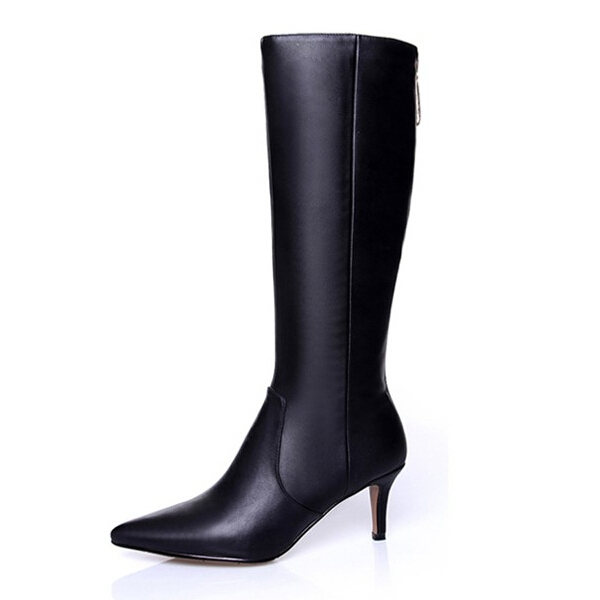 2015 Women Genuine Leather Shoes Point Toe Autumn Women's High Boots Long Horse Riding Motorcycle Knee High Boots ; S011401(China (Mainland))