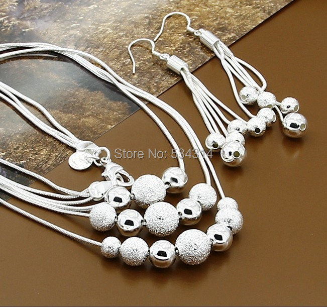 T204 Low prcie 2014 925 Necklace Earrings Jewelry Set Silver set Wedding - Magical Girl store