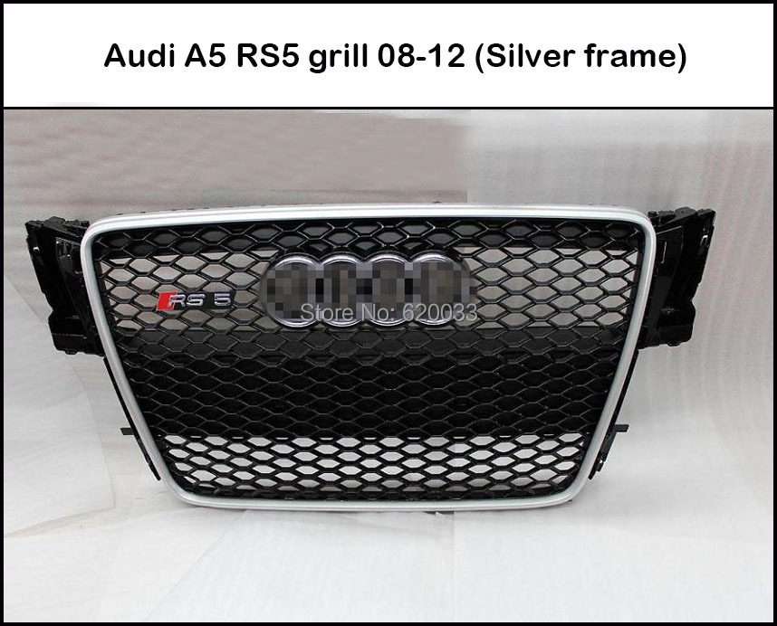 Fits for 08-12 A5 RS5 Mesh grill for A5 Front Bumper Honeycomb Grille Grill Black Painted Silver Matt Frame With Chrome Emblem(China (Mainland))
