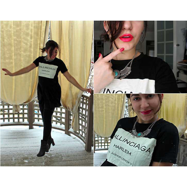 2016 Женщин Способа Лето Уличная Топы Женщина Новый Хлопок Письмо Печати футболка camisetas