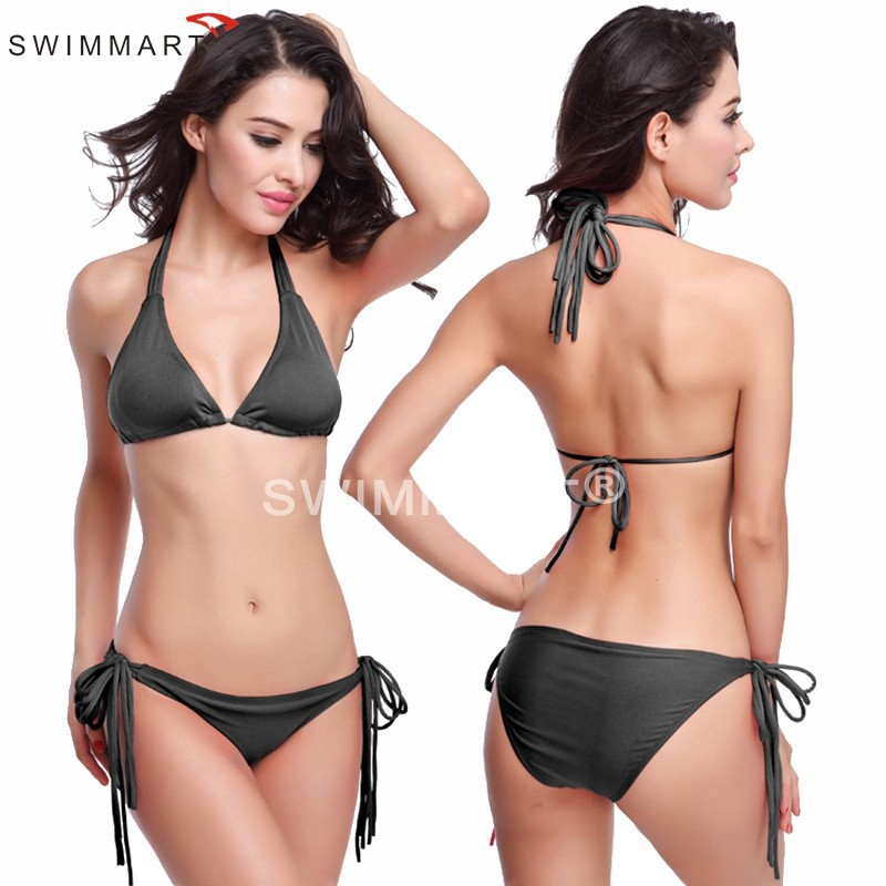 Hot Sale Long Halters Removable padding Fully lined 2015 Sexy Women String Bikini 11 Colors M.L.XL.XXL(China (Mainland))