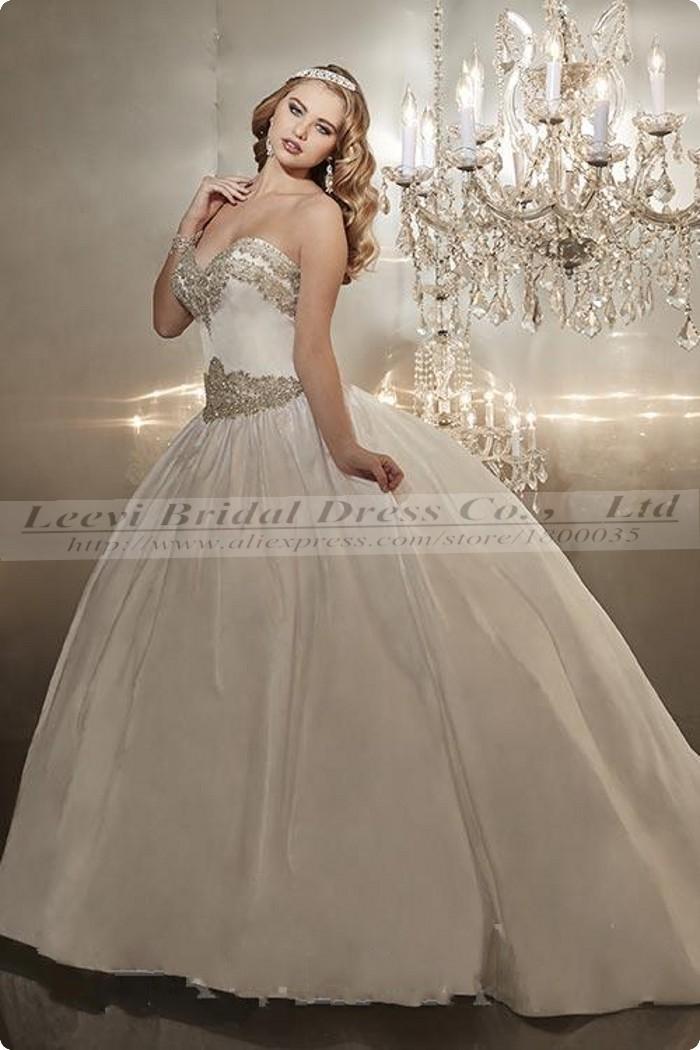 Satin vintage ball gown wedding dress 2015 pearls luxury for Vintage satin wedding dresses
