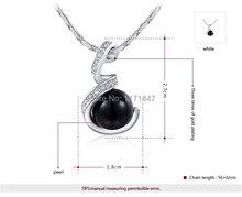 Womens Girls 2014 Fashion Brand Designer Crystal Jewlery 18K White Gold Plated Alloy Black Freshwater Pearl
