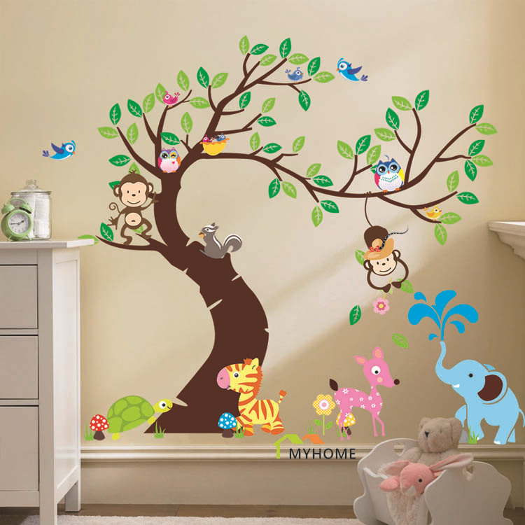Oversize cartoon animal monkey on tree wall decal baby for Sticker habitacion infantil