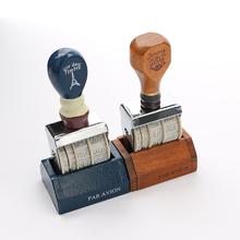 New Diy Date Vintage Navy And Brown Wood Handle Metal Body Crown Roller Stamp For Wedding Office Material School Supplies