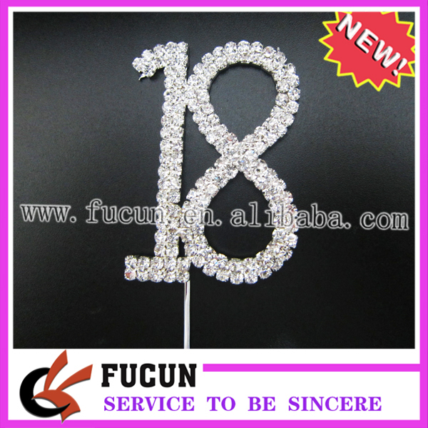 """18"" CAKE TOPPER for cup cake,lowest moq,FREE SHIPPING,clear rhinestone+silver plated base"