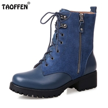 Buy Platform Square Heel Half Short Real Leather Boots Women Fashion Round Toe Zipper Shoes Lace-Up Female Bootie Size 34-39 for $52.15 in AliExpress store