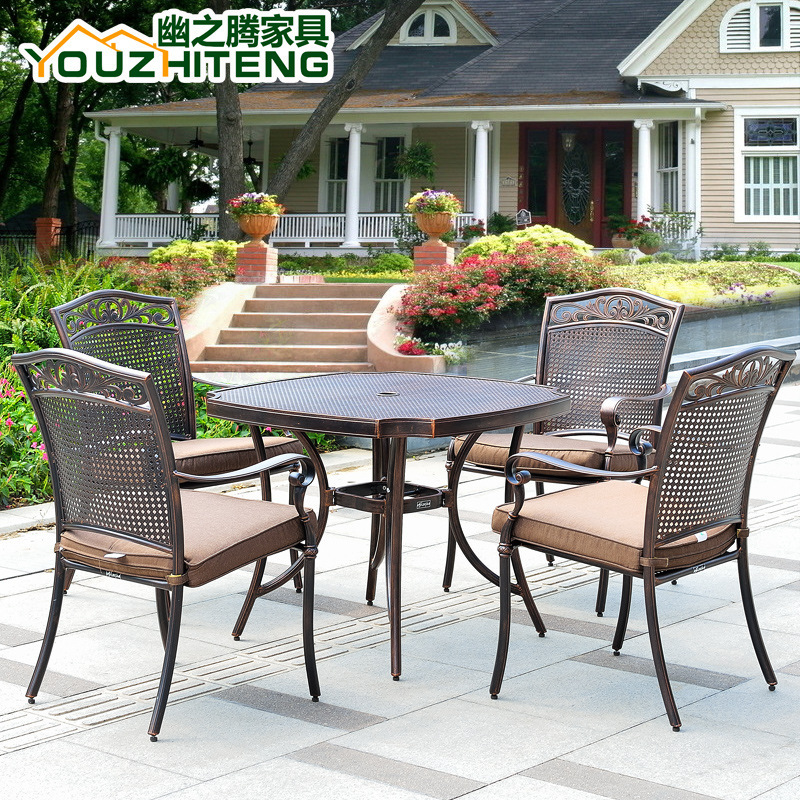 Jiale US-cast aluminum outdoor furniture, wrought iron tables and chairs outdoor leisure furniture balcony furniture Wujiantao c(China (Mainland))