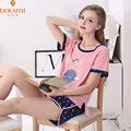 Summer Brand Female Cotton Lounge Pajama Short Sets Fashion Women O neck Lounge Wear Girls Short