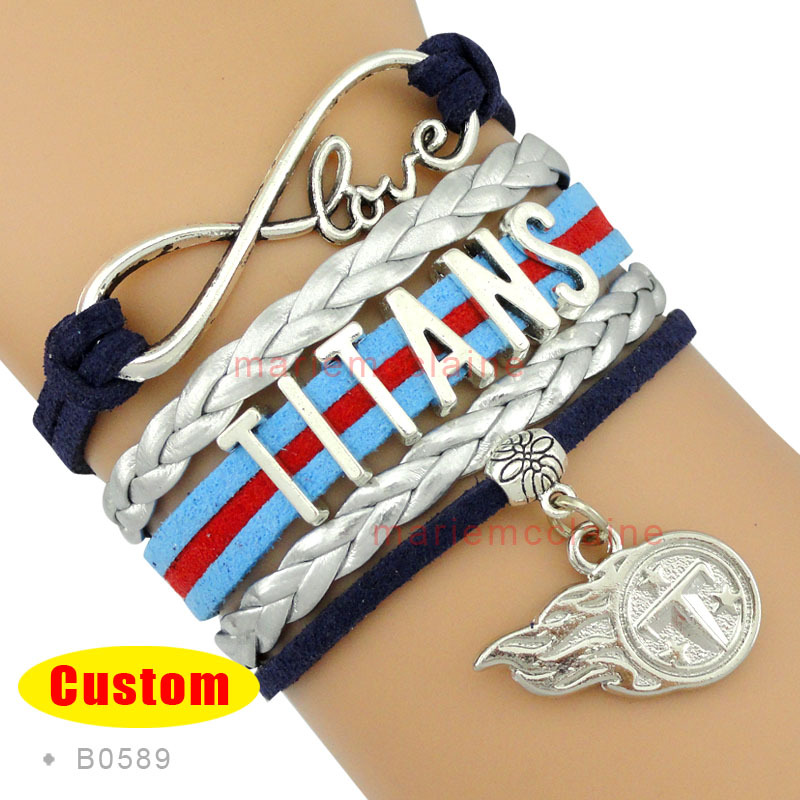 (10 Pieces/Lot) Infinity Love Tennessee Football Bracelet Titans Football Team Bracelet Navy Blue Red Silver Leather Jewelry(China (Mainland))
