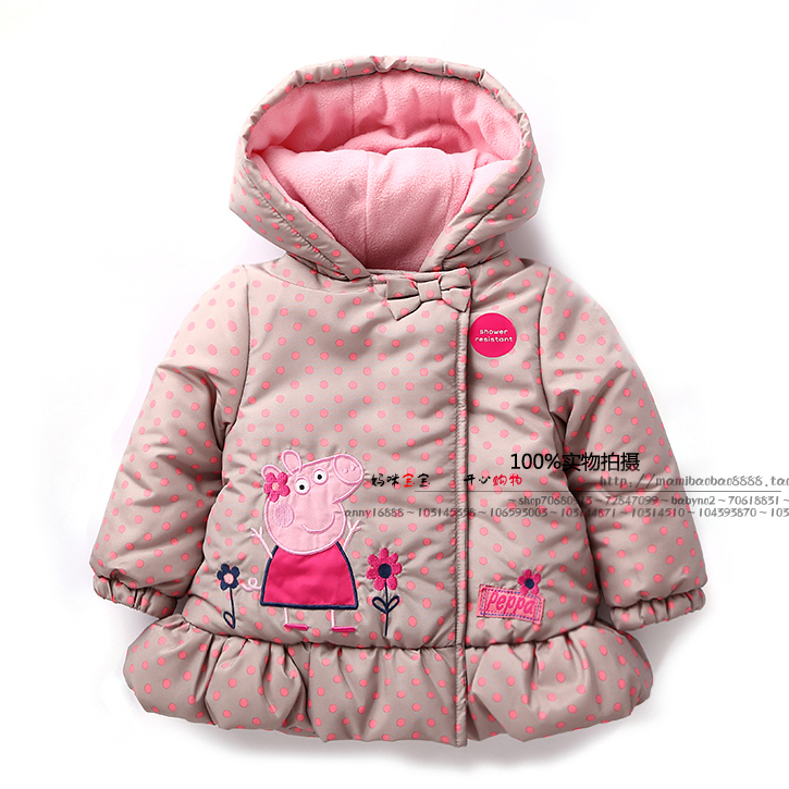 New 2014 autumn winter baby clotheing children coat kids jackets baby girls outerwear child cute dot pig coats baby Hooded parka<br><br>Aliexpress