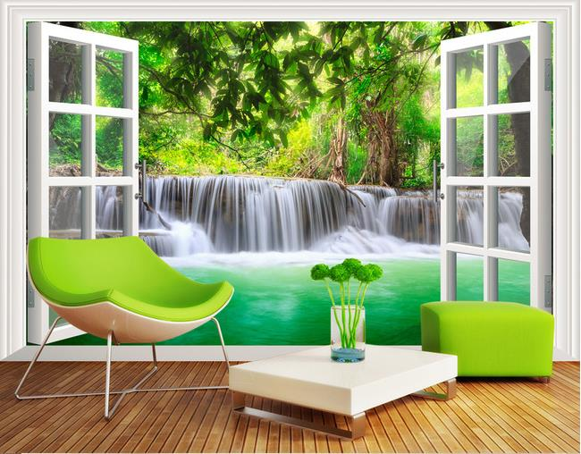 Free shipping 3d forest waterfall wallpaper bedroom living for Nature wallpaper for living room