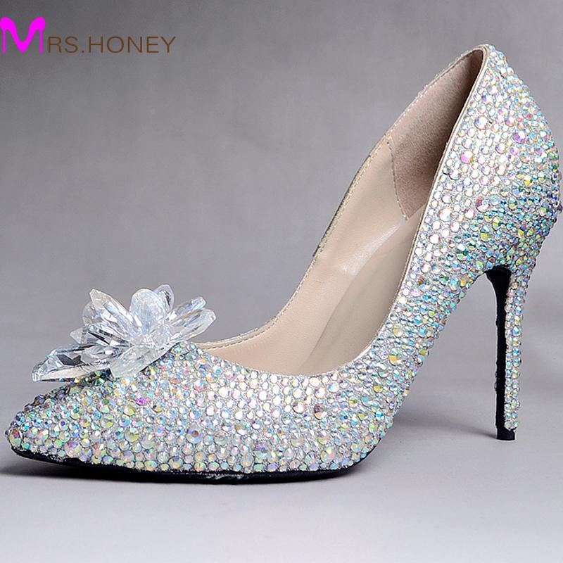 cinderella shoes pointed toe rhinestone sparkling