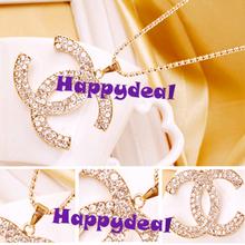 2014 New  Fashion Korean Style Women Beautiful Gold Plated Rhinestone Pendant Necklace Sweater Chain Jewelry