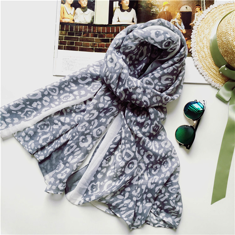 Leopard Print Women Gray Scarf Vintage Thin Stoles Beach Wrap Multifunctional Bandana NEW(China (Mainland))