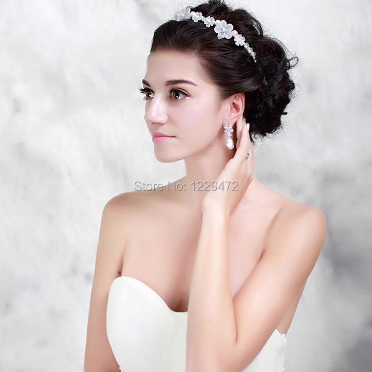 New Handmade Crystal Pearl Beads White Flower Bridal Hairband Tiara High Quality Silver Headband Wedding Hairwear Hair Jewelry(China (Mainland))