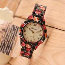 Geneva Casual Watch Women Dress Watches Female Pink Rose Flower Print Silicone Watch Plastic Quartz Clock Saat Wholesale Relojes