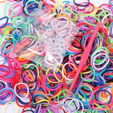 High Quality 600Pcs Elastic Different Colors Rubber Bands 24 Clips 1 Hook DIY For Loom Bracelet