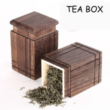 High Quality  Square Wooden Jars And Lids Mason Jar Tea Container Kitchen Accessories 8*13cm Candy Box(China (Mainland))