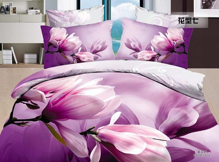 purple Yulan magnolia flower Promotion 3D reactive printed cotton/polyester 4pcs comforter/duvet/bedding set 2280 Air shipping(China (Mainland))