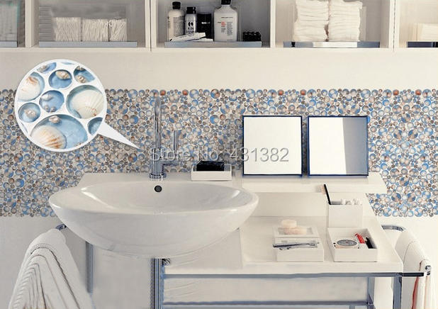mosaic tiles for bathroom. TB2UQqtaVXXXXaQXXXXXXXXXXXX 1702676250 2018 New  Two Color Resin With Embedded Shell Mosaic Tiles