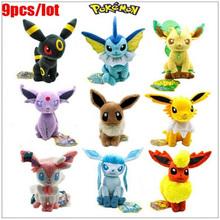 20-23cm 9pcs/set Pokemon Plush Toy Sitting Umbreon Eevee Espeon Jolteon Vaporeon Flareon Glaceon Leafeon Animals Stuffed Doll(China (Mainland))